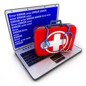 Picture of laptop with medical kit